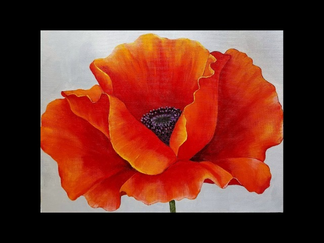 RED POPPY Acrylic Painting Georgia OKeeffe Inspired Tutorial LIVE Beginner Blending Lesson