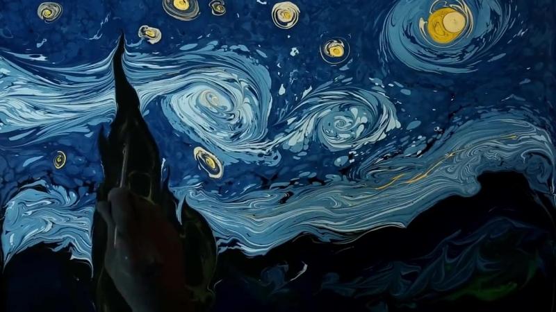Турецкий художник Garip Ay рисует на воде картины Ван Гога и это настоящая магия.