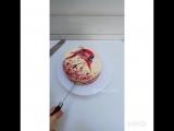 Торт Красный бархат, с росписью