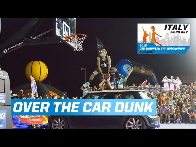 Jordan Kilganon dunks over a car - Riccione - 2015 FIBA 3x3 U18 European Championships Qualifier