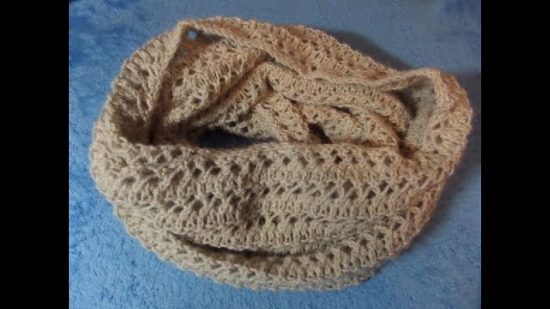 Шарф снуд, хомут связан ажурным узором. Вязание спицами. Knitting(Hobby)
