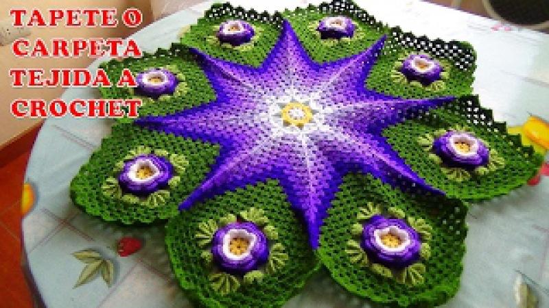 Tapete o Carpeta tejida a crochet o ganchillo paso a paso con Flores de Rosas Hermosas