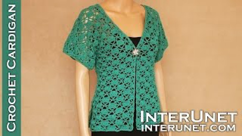 Crochet short-sleeve lace summer top – Green Zinnia cardigan sweater crochet pattern