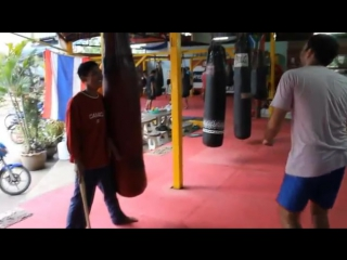 Muay Thai Kick Footwork - Kru Phon and Teaching Stick