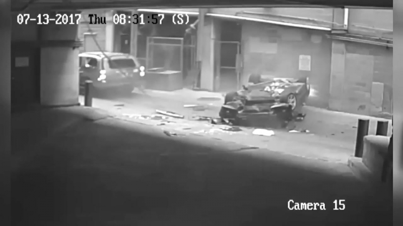 NEAR MISS- Car tumbles seven stories from Austin, Texas parking gara narrowly missing SUV