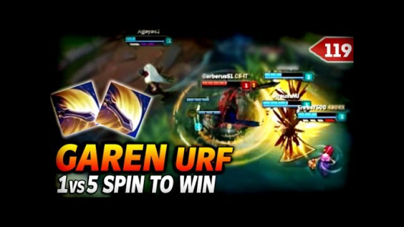 LoL Best Moments 119: Garen URF Crazy Damage (1vs5 Spin to Win) | League of Legends (SoloMiD)