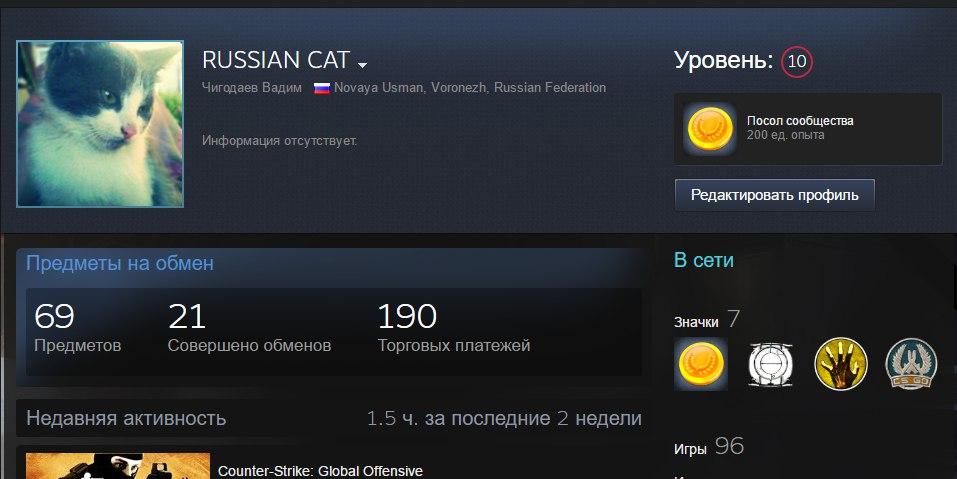Личный аккаунт Steam