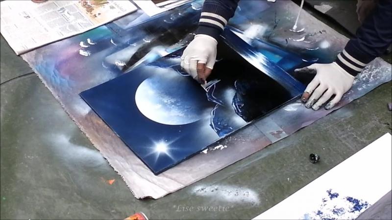 Spray paint art - Dark blue, black white nature painting - made by street arti