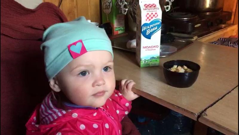 Маленькая девочка, молоко и сухарики