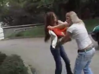 good fight young girls in park