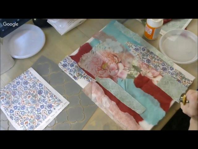 Шебби микс медиа панно с пионами для интерьера: видео мастер-класс Натальи Жуковой mixed media