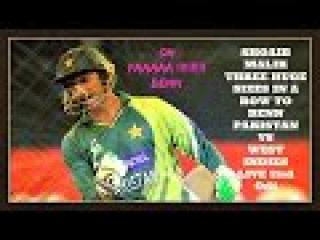 Shoaib Malik Three Huge Sixes in a Row To Benn - Pakistan vs west indies live 2nd Odi