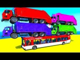 Color truck on the bus spiderman cartoon and superheroes 3d animation for kids