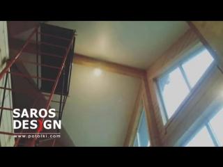 Натяжной потолок мансардного типа в загородном доме https://vk.com/okna47dveri