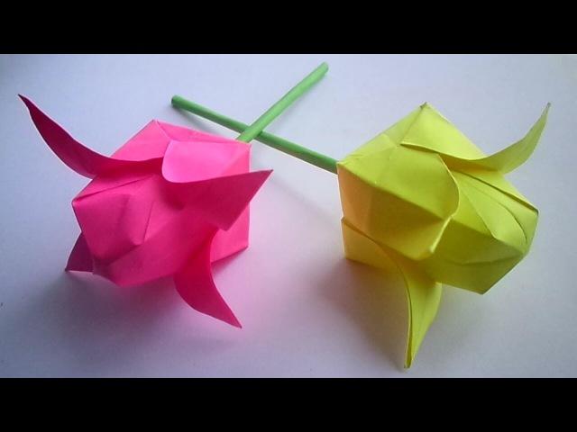 оригами цветок тюльпан, как сделать из бумаги тюльпан how to make origami tulip flower