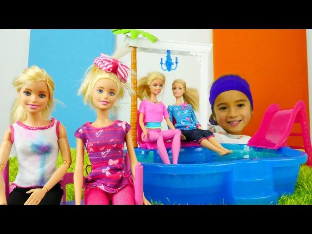 Kız Oyuncakları - Barbieoyunları ve oyuncak havuzu. Barbie ile spor yapma oyunu. Kız çocuk videosu