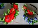 Ободок с розами из ленты 2,5 см/Headband with roses from the tape 2.5 cm