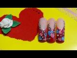 Дизайн ногтей к дню Св. Валентина. Design For St. Valentine's day.