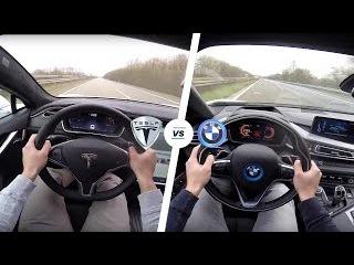 Tesla Model S P90D LUDICROUS vs BMW i8 Acceleration TOP SPEED POV Autobahn