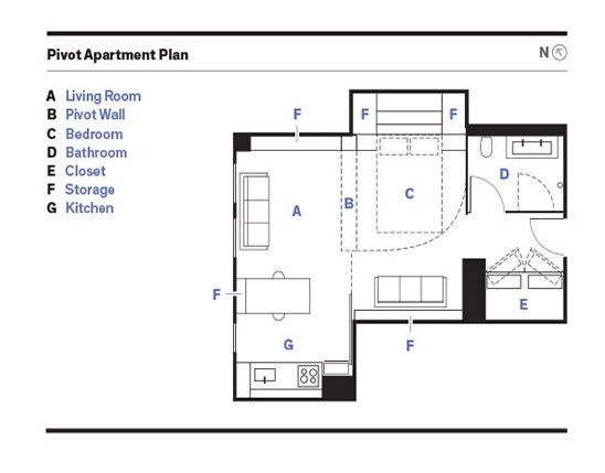 Интерьер квартиры 37 м с мобильным шкафом-перегородкой.