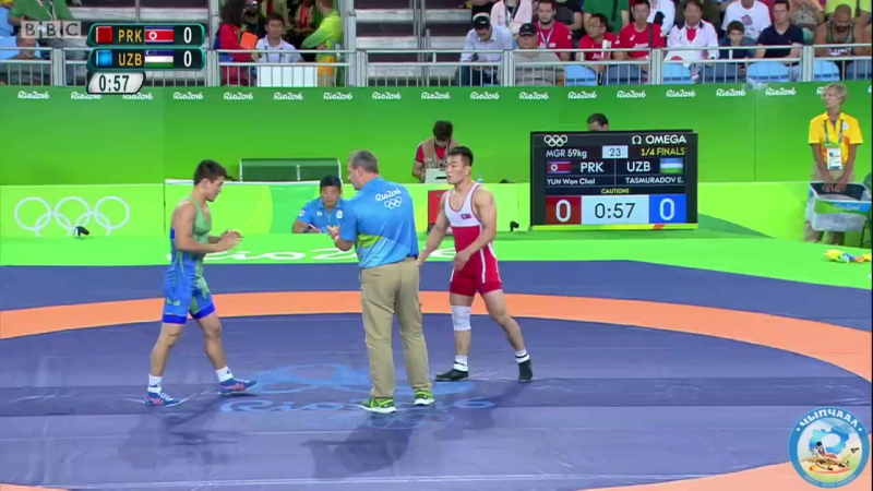 РИО-2016 греко-римская борьба 59 кг 1_4 финала Юн Вон Чхоль (КНДР) - Эльмурат Тасмурадов (Узбекистан)