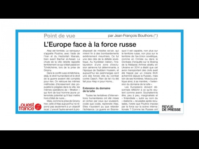 Chute dAlep LEurope face à la force russe