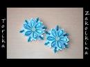 Снежинки своими руками Мастер класс канзаши как сделать снежинку New Year DIY snowflake kanzashi