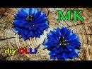 DIY Василёк из атласной ленты Цветы канзаши Cornflower of satin ribbons Flowers kanzashi
