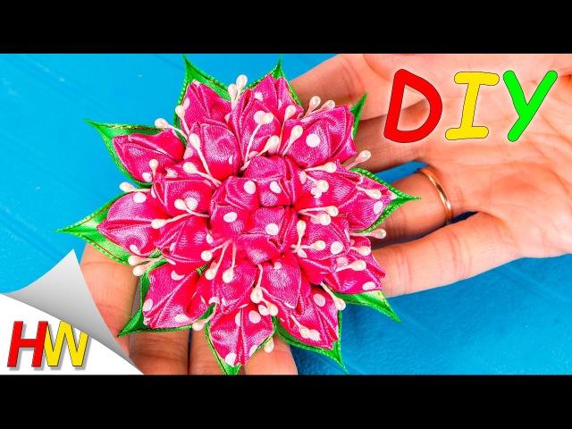 Весенние резинки Канзаши. Цветы из лент своими руками. Kanzashi flowers tutorial.
