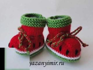 Вязаные пинетки для детей 2. Knitted baby booties.
