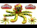 Как слепить Осьминог из пластилина Плей До на русском, лепки - How to make a octopus with Play-Dough