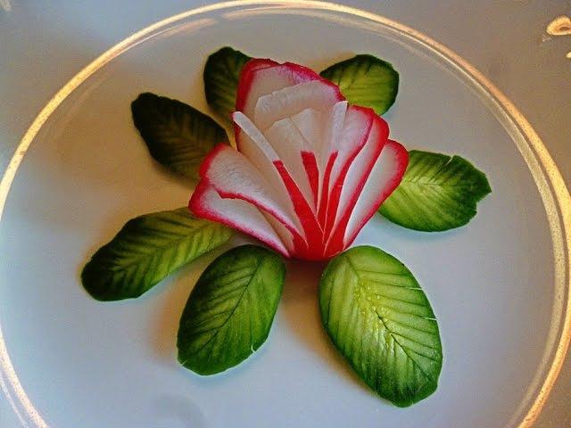 10 LIFE HACKS HOW TO CUT RADISH CUCUMBER BEAUTIFUL RADISH FLOWER GARNISH - CUCUMBER DESIGN