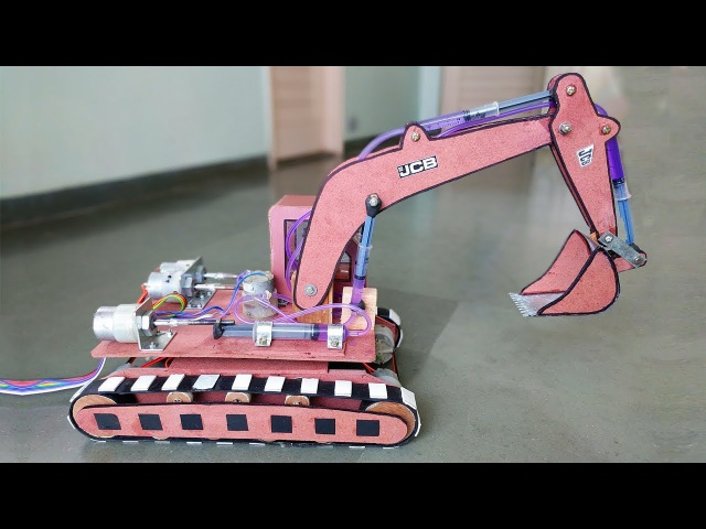 How to Make a Remote Control Hydraulic Excavator JCB at Home