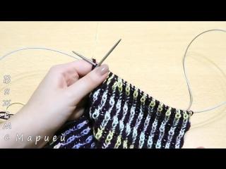 Женская шапка в технике Бриошь спицами. Часть 2 -- Brioche Stitch -- Womens hats knitting