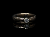 Кольцо в технике мокуме гане из серебра и золота с бриллиантом