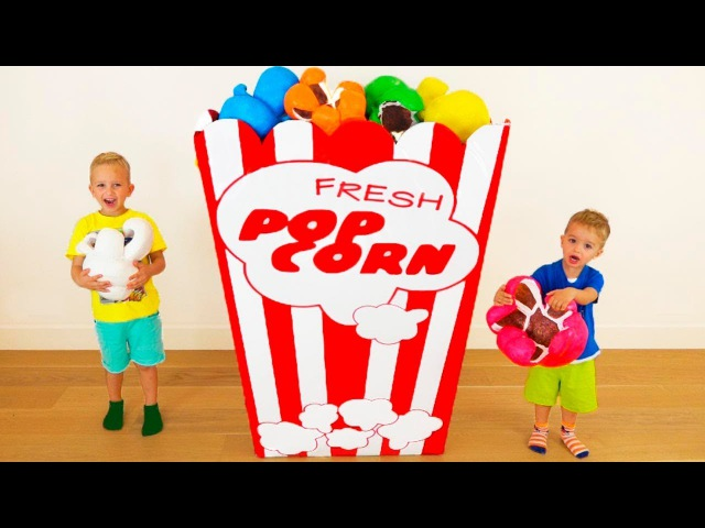 Bad Kids Giant Popcorn Johny Johny Yes Papa Song Nursery Rhymes Song Learn Colors for Children