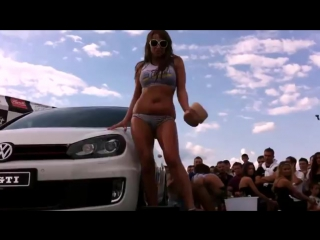 Volkswagen Golf GTI car wash show with sexy girls models
