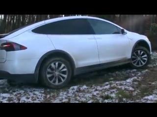 Ломовая Tesla в деревне возит дрова