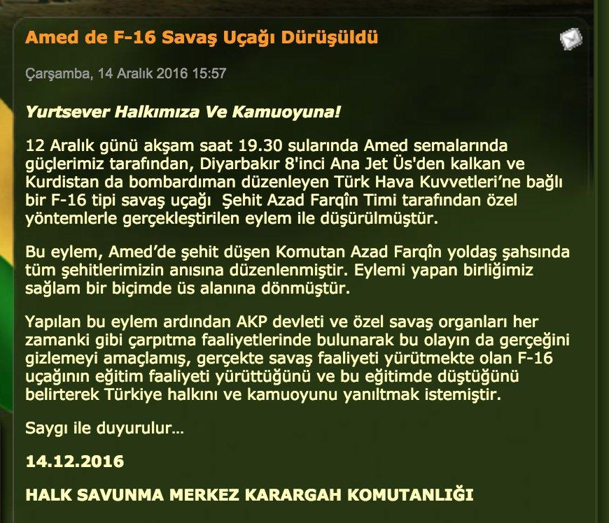 Первый пошел: курды официально заявили, что сбили турецкий истребитель F-16
