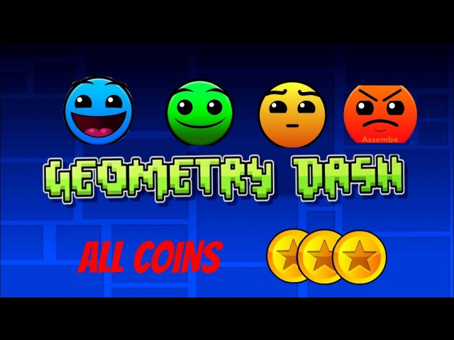 Geometry Dash-Level (1-8) All Coins