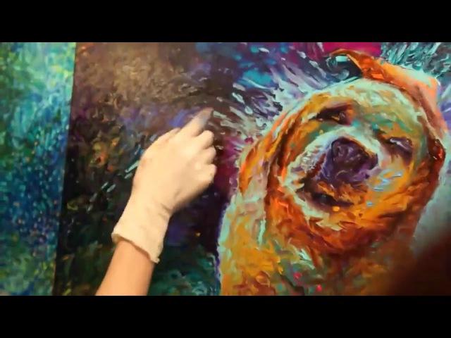 Dog Shaking Finger Painting by Artist Iris Scott
