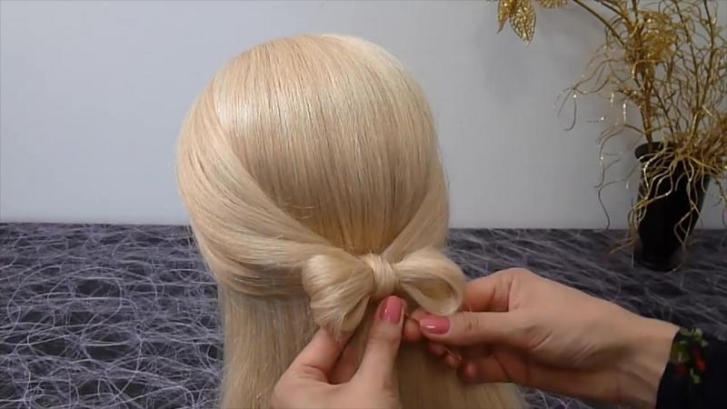Причёски для средних, длинных волос.Причёска Бант из волос.Быстро и просто