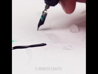 Top 5-Minute Crafts #84 Окраска водой и чернилами.