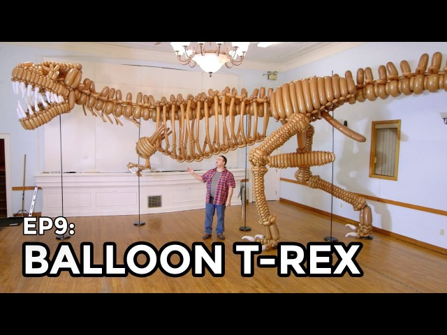 Life Size T-Rex Dinosaur made of Balloons - COOLEST THING I'VE EVER MADE EP9