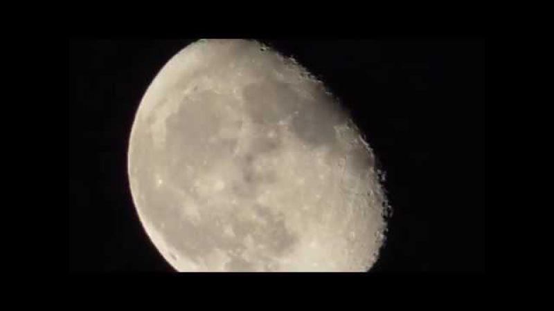 7 ноября 2017 г., 22:53:37. Луна-третья фаза. Движение луны. 90 крат увеличение. ...