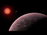 Вид ультра-холодной карликовой звезды TRAPPIST-1 из окрестностей одной из ее планет (взгляд художника).