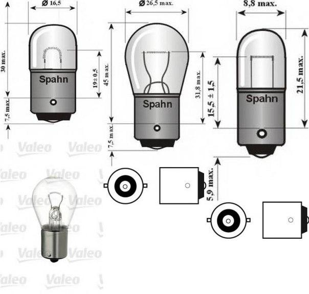 Лампа накаливания, фонарь указателя поворота; Лампа накаливания для AUDI QUATTRO (85)