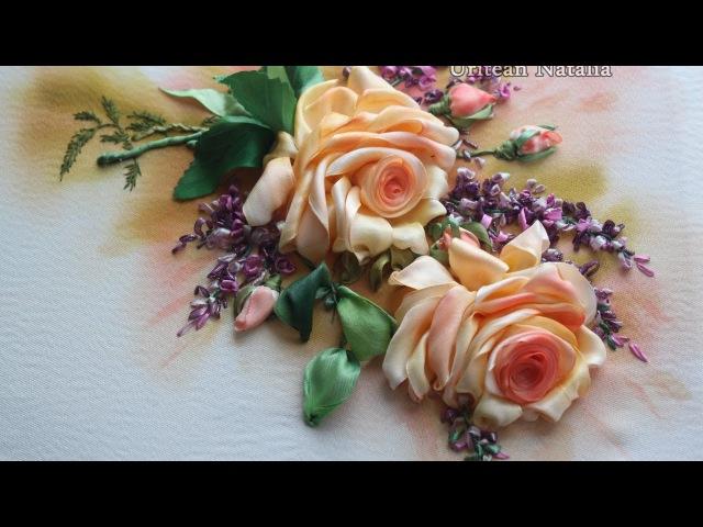 Вышивка лентами мастер класс Роза - урок 2 от Наталии Уритян » Freewka.com - Смотреть онлайн в хорощем качестве