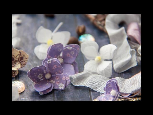 Видео-урок по созданию гортензии из кальки и скрап-бумаги