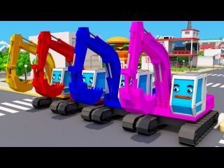 Super Excavators Colors for Kids - Learning Educational Video | Learn Toy Vehicles with Songs